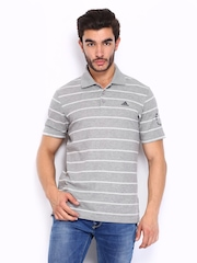 Adidas Men Grey & White Striped Polo T-shirt