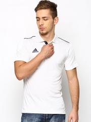Men White Basic Cricket Basic Polo T-shirt Adidas