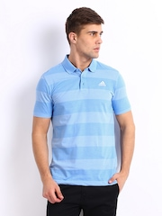 Adidas Men Blue Striped Polo T-shirt
