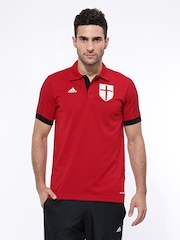 Adidas Men Red ACM CO Football Soccer Polo T-shirt