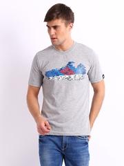 Adidas Men Grey Melange Printed T-shirt