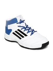 Men White & Blue Shove Basketball Shoes Adidas