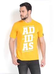 Adidas Men Yellow Printed Bold Lineage T-shirt
