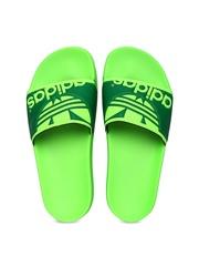 Adidas Original Men Neon Green Adilette Trefoil Flip-Flops