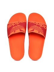 Adidas Original Men Neon Orange Adilette Trefoil Flip-Flops Adidas Originals