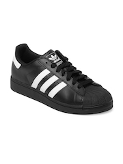 Adidas Originals Men Black Superstar II Sneakers