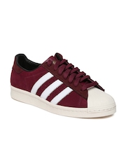 Men Burgundy Superstar 80s Leather Casual Shoes Adidas Originals
