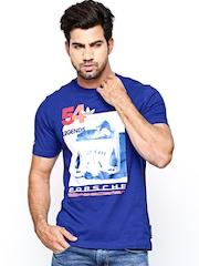 Men Blue Graphic Printed T-shirt Adidas Originals