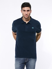 Men Navy ADI Pique Polo T-shirt Adidas Originals