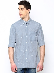 Adidas Originals Men Blue & White Gingham Checked Casual Shirt
