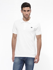 Men White ADI Pique Polo T-shirt Adidas Originals