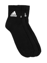 Adidas Unisex Black Adiankle Pack of Three Socks