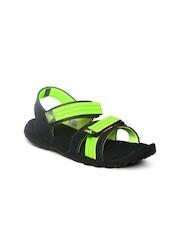 Adidas Women Black & Fluorescent Green Adwen Sports Sandals