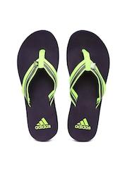 Adidas Women Fluorescent Green & Navy Adze Flip-Flops