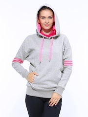 Adidas Women Grey Melange Hooded Training T33SH OH Sweatshirt