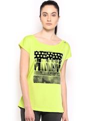 Adidas Women Neon Green Printed Top
