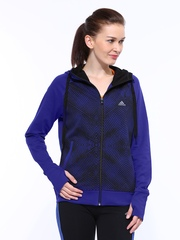 Adidas Women Purple & Black REAL CO TRK Hooded Training Jacket