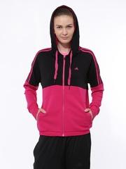 Adidas Women Pink & Black ESS 3S SEAS TT Training Hooded Jacket