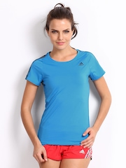 Adidas Women Blue Printed T-shirt
