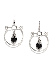 Adrika Black & Silver-Toned Drop Earrings