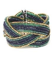 Adrika Blue & Gold-Toned Cuff Bracelet
