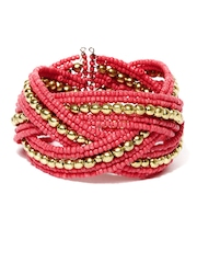 Adrika Coral Pink and Gold Toned Cuff Bracelet
