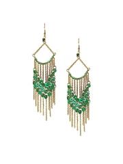 Adrika Gold-Toned & Green Drop Earrings