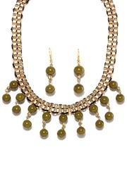 Adrika Gold Toned & Green Jewellery Set