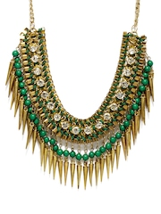 Adrika Gold Toned & Green Necklace