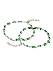 Adrika Green & Steel-Toned Anklets