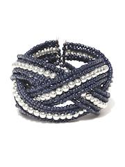 Adrika Navy & Silver-Toned Cuff Bracelet