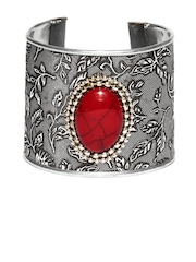 Adrika Oxidised Silver-Toned & Red Cuff Bracelet