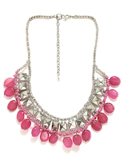 Adrika Pink & Silver Toned Necklace