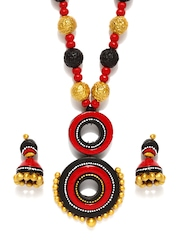 Adrika Red & Black Jewellery Set