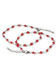 Adrika Red & Steel-Toned Anklets