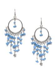 Adrika Silver-Toned & Blue Drop Earrings