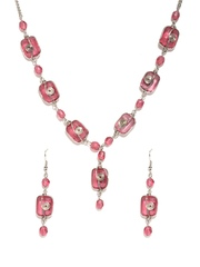 Adrika Silver-Toned & Pink Necklace