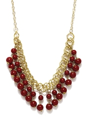 Adrika Gold Toned & Red Necklace