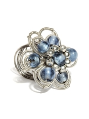Adrika Silver-Toned & Blue Ring