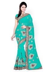 Akoya Turquoise Blue Embroidered Chiffon Fashion Saree