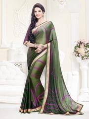 Akoya Green Printed Satin & Crepe Fashion Saree