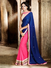 Akoya Blue & Pink Chiffon Fashion Saree