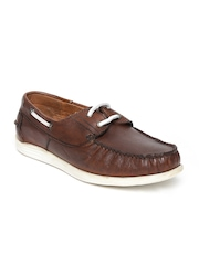 Alberto Torresi Men Brown Leather Boat Shoes