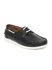 Alberto Torresi Men Black Leather Boat Shoes