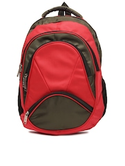 Alessio69 Men Red & Olive Green Backpack