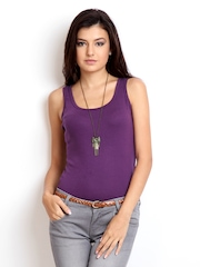 Alibi Women Purple Racer Back Tank Top