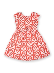 Allen Solly Junior Girls White & Coral Pink Printed Fit & Flare Dress