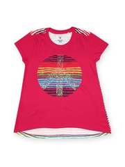 Allen Solly Junior Girls Pink Printed T-shirt