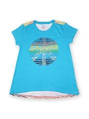 Allen Solly Junior Girls Blue Printed T-shirt