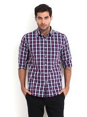 Allen Solly Men Black & Pink Checked Sport Fit Casual Shirt